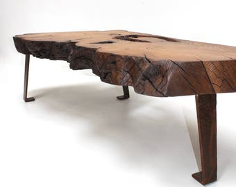 Coffee Table Live Edge Wood Slab Sinker