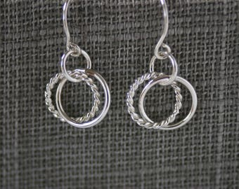 Multi Hoop Sterling Silver Earrings - Small Entwined Circle Dangles for Women and Girls