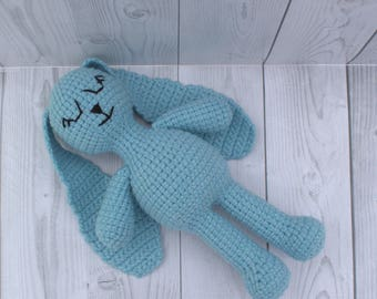 Sleeping crochet bunny with long ears can be a first bed toy of your baby - Stuffed animals - Sleeping rabbit - Bunny soft toy - Cuddly toy