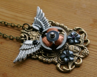 Cyber Cherub Crest Necklace Recycled Motor Winding Art Nouveau in Copper