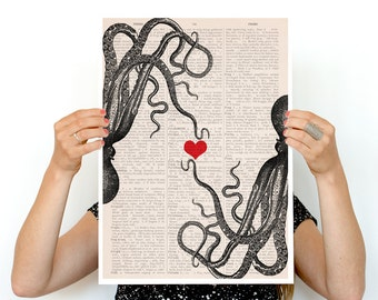 Octopus in love poster,  Eco friendly art, Wall art r, LOVE poster, Giclee poster, Octopus art, SEA067PA3
