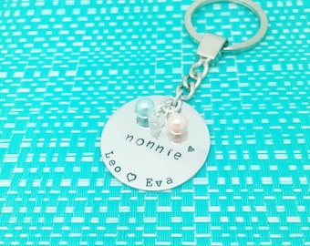 Nanna Hand Stamped Keychain, Nanny Gift, Nana Gift, Personalized Family, Gifts for Nan, Gifts for Her, Add Swarovski Crystals, Mothers Day