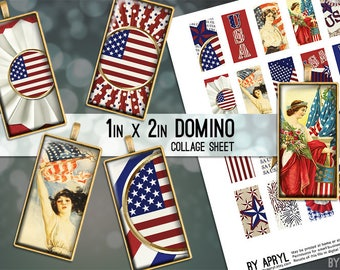 USA Patriotic 4th of July Flag America 1x2 Domino Collage Sheet Digital Image for Domino Pendant Magnet Scrapbook Journaling JPG