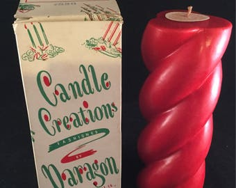 """Candle Creation By Paragon Victrylite Candle Pair 8"""" Red Rope Candles"""