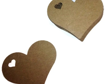 """Small  Heart Tags 100 - 2"""" x 1 3/4"""" - You Choose the Color"""