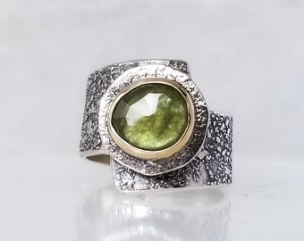 Moss Green Sapphire Stone Ring , Fused Ring, One of a kind, Handmade, Green stone,