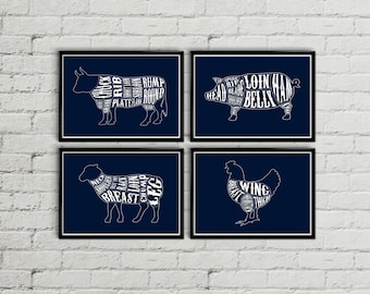 Navy Kitchen art, kitchen wall art, kitchen decor, kitchen wall decor, rustic kitchen wall decor, Butcher diagram, Meat cuts print