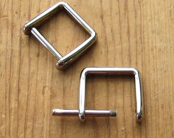 "2 Nickel Plated D Rings 1"" Screw In Replacement Purse Strap or Knife Dangler Hardware"
