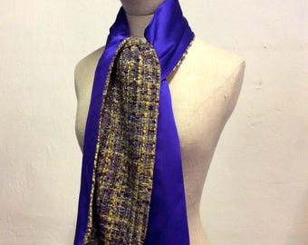 Scarf double sided silk crepe and purple tweed