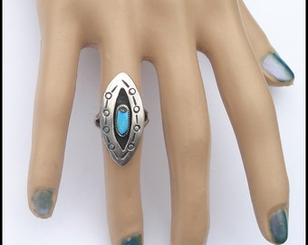 Vintage Sterling Silver Native American Design Shadowbox Iron Pyrite Matrix Turquoise Ring 6.5