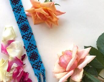 handmade custom woven friendship bracelet. black. blue. cotton. knotted. holiday season. christmas. gifts. girls. boys. women. unix