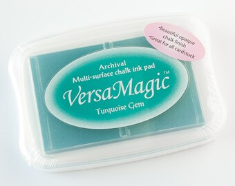 Turquoise Gem VersaMagic Ink Pad, Multi Surface chalk ink pad, Rubber Stamp Ink, Turquoise, Cardstock ink