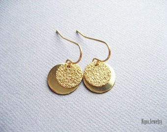 Simple Gold Disc Earrings, Gold Coin Earrings, Double Disc Earrings, Petite Gold Disk Earrings, Dainty Gold Earrings, Jewelry Gift Under 15