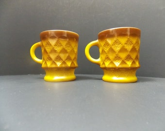 Gold and brown coffee mugs Kimberly design cups by Anchor Hocking harvest gold and brown diamond pattern vintage coffee cups retro kitchen