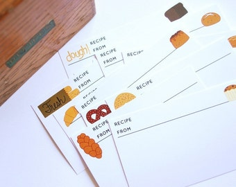 Dough - Baked Goods Characters Printable 4x6 Recipe Cards