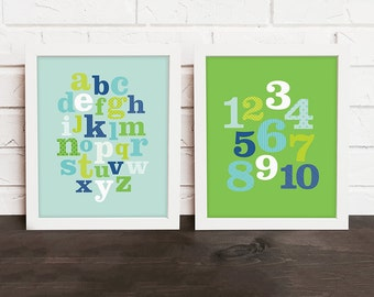 alphabet nursery art, blue and green nursery art, alphabet & numbers nursery print, ABC 123 art, alphabet playroom art, baby boy nursery art