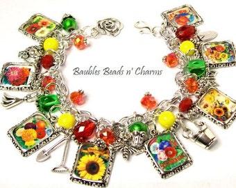 Flower Garden Charm Bracelet, Flower Seed Packets Gardening Charm Bracelet, Gardening Garden Charm Bracelet, Flower Bracelet