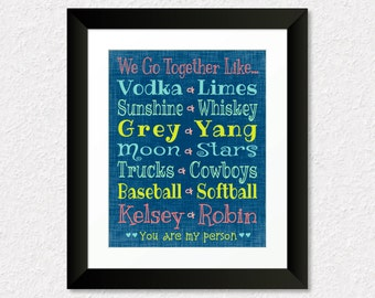 We Go Together Like Vodka and Limes, Custom Gift for Friend, Famous Pairs, Birthday Gift Idea, BFF Gift, Friend Canvas, Choose Your Pairs