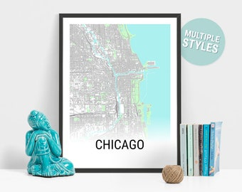 Chicago Map Print, Illinois, USA, City Map, City Map Print, Travel Map, Map Art, Map Poster, Wall Art, Home Decor, Modern, Minimalist