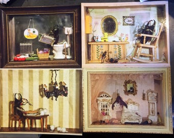 Set of Four Beetle Diorama Postcards, Anthropomorphic Dollhouse Views with Bugs