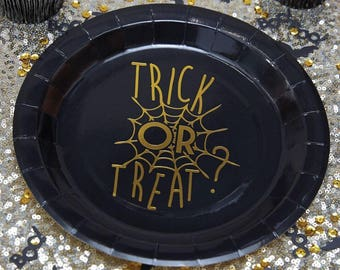 8 Trick or Treat Plates, Halloween Plates, Cobweb Plates, Paper Plates, Halloween Decor, Halloween Decorations, Halloween Tableware