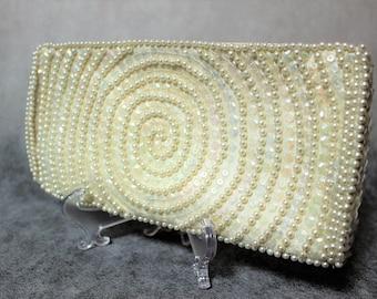 Vintage Bon Soir Beaded Wedding purse Evening beautiful clutch. Made in Japan