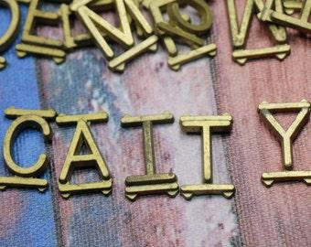 3 Vintage Brass Letters
