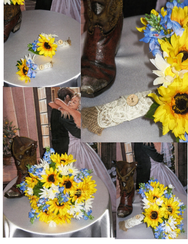 New Silk Sunflower Texas Bluebonnet Country Wedding Rustic
