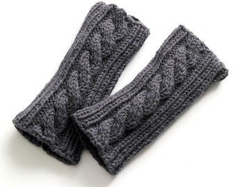 Knitted Gloves, Knit Fingerless Gloves, Cable Knit Gloves, Gray Knit Gloves, Hand Knit Gloves, Fingerless Gloves, Knit Wool Gloves