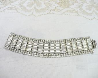 WIDE Vintage Rhinestone Bracelet - silver tone metal - Chunky bracelet - Formal vintage gift - Bridal WEDDING - Bridesmaid gift - Unique