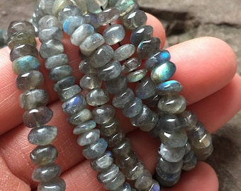 Labradorite beads, rondelle beads, jewelry, sample strand, beading supplies