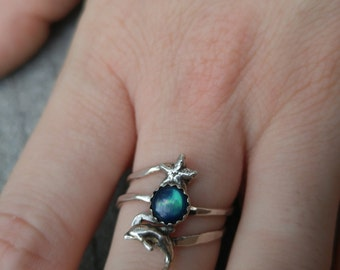 Size 7.75 Sterling Silver Oceanic and Abalone Ring
