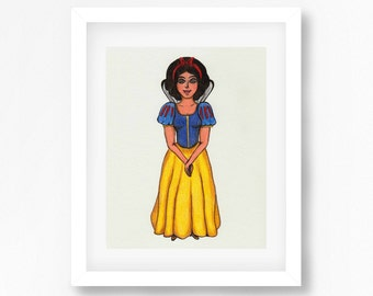 Snow White Print Disney Inspired Art Print, Snow White Drawing, Disney Princess, Princesses Wall Decor, Disney Inspired Wall Art