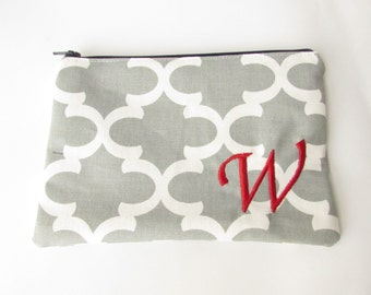 Monogram Make up Bag - W pouch - Ready to Ship - Bridesmaid Makeup bag - Cosmetic bag - Make up Clutch - Monogrammed Gift - Medium