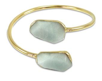 Aquamarine Cuff, Gold Cuff, Aquamarine, March Birthstone, Aquamarine Bracelet, Statement Gold Cuff, Gemstone Cuff Bracelet, Gift For Her.