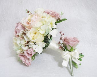 Set of 2 Pieces Blush Roses Wedding Bouquet, Blush Color Floral Bouquet, Blush Boutonniere, Peach Wedding Flower Bouquet, Rustic Bouquet