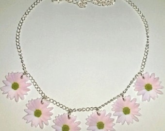 Pale Pastel Flower Daisy Chain Summer Festival Hippie Necklace