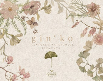 Watercolor Textured Floral Elements, Ginko Leaves Clipart, Magnolia Clipart, Fern Clipart, Rice Paper Textured Ginko Leaves, Fern, Magnolia