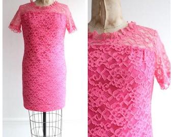 Vintage 1960's Hot Pink Lace Mini Dress Vintage mini dress mod dress gogo sixties mini dress lace dress pink mad men goodwood revival UK 10