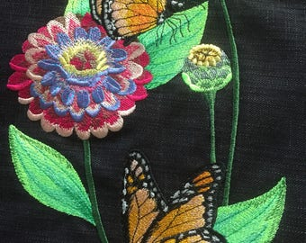 Embroidered tote bag embroidered butterfly and flower,book bag, embroidered book bag, butterfly