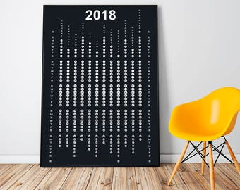 2018 Wall Calendar Large, Yearly Calendar 2018, Office Gift For Him, Black Minimalist Calendar, Coworker Gift, Extra Large Art Framed