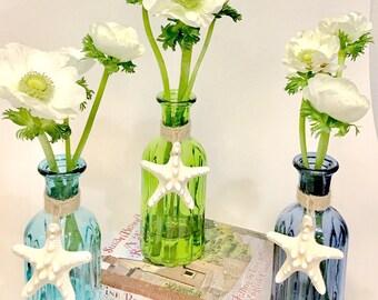 Beach Decor - Glass Bottle w/Natural Starfish and optional Coral or Shell -  Aqua, Green or Blue - coastal star fish sea shells bathroom