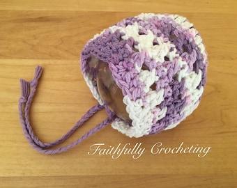 Newborn cotton bonnet.. Purple varigated... Photography prop.. Ready to ship