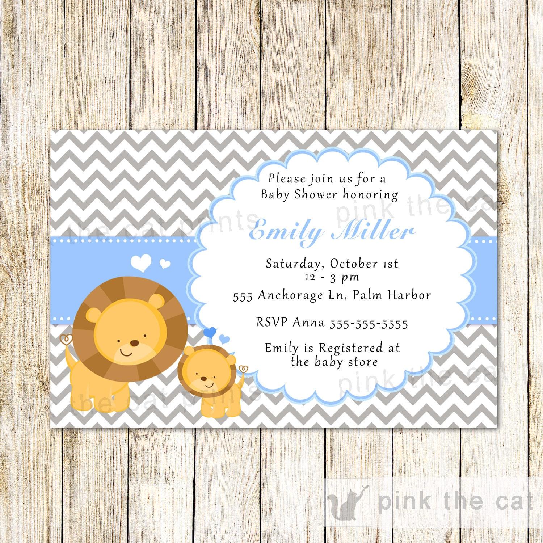 Lion Invitation Lion Cub Invitation Boy Lion Party