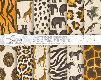 Vintage jungle safari - animal skin -  12 digital paper pack - INSTANT DOWNLOAD