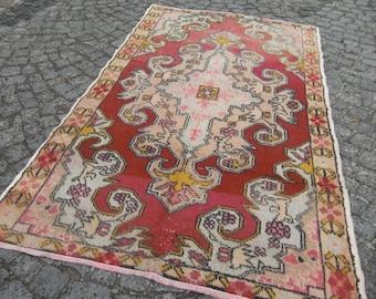 turkish rug, faded oushak , vintage rug, 206