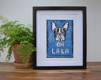 Frenchie French Bulldog hand pulled lino print