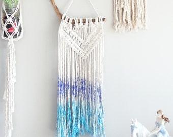 Macrame Curtain- Wall Accent- Bohemian Decor- Modern Macrame- Wall Accent- Boho Home Decor- Turquoise & Purple~ BohoChic- Gypsy Mermaid