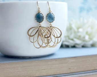 Blue Gold Filigree Earrings, Bridesmaids Gift, Blue Feather Earrings, Blue Glass Modern Gold Feathers, Bridal Wedding Jewelry, Gifts for Her