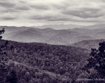 Blue Ridge Mountains Black and White Photo, Mountain landscapes, rustic decor, WNC mountains calling, Asheville NC Nature Photography